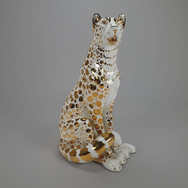 Gold ceramic leopard