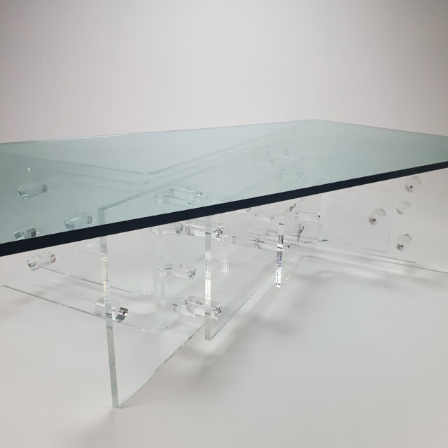 Custom Made Lucite and Glass Coffee Table by Hemcé Nice, France, 1970s