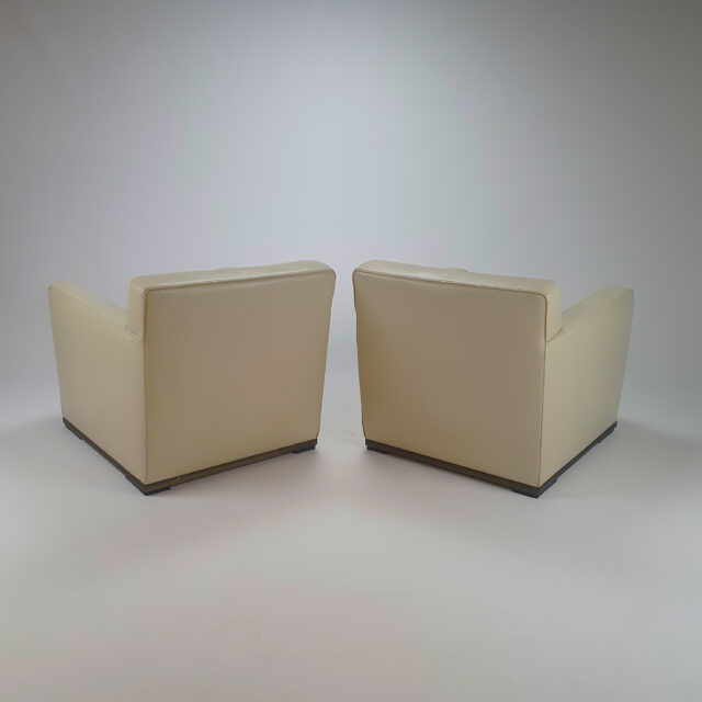 Set of 2 Creme Leather Armchairs by Antonio Citterio for B&B Italy, 1980s