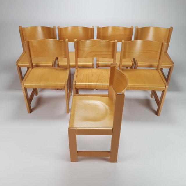 Set of 8 Birchwood dining chairs, 1980s