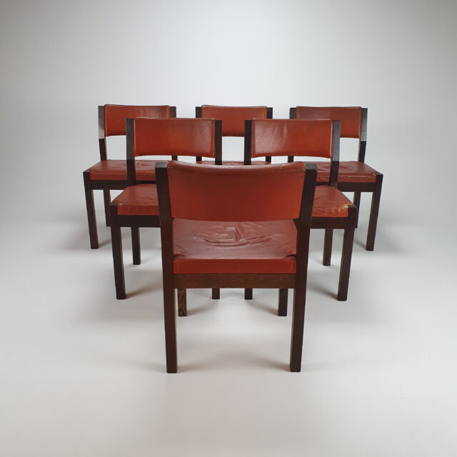 Set of 6 Cognac Leather Wenge Dining Chairs by Spectrum, 1960s