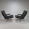 Set of 2 Vintage Leather and Chrome, 1970s