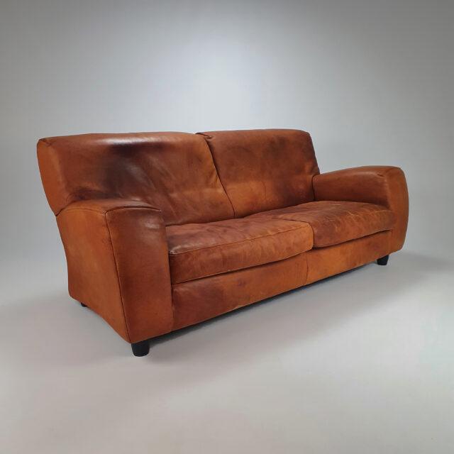 Italian Cognac Leather 2,5 Seats Fatboy Sofa by Molinari, 1980s