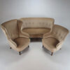 Set of 3 Mid Century Design Chairs and Sofa, Velours, 1950s